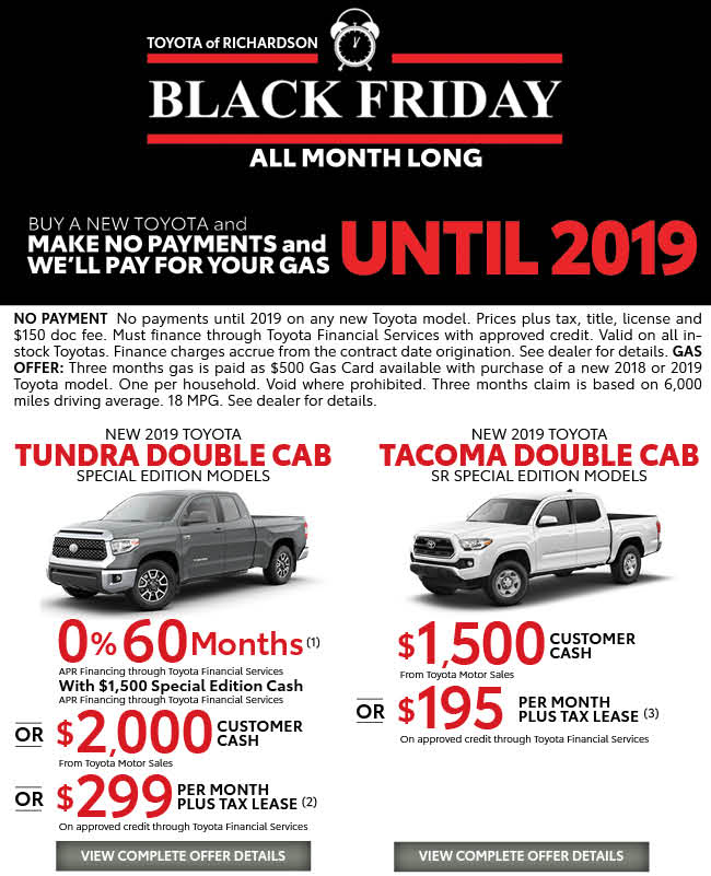 Black Friday All Month Long Toyota Of Richardson